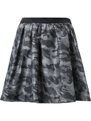 Guild Prime Camouflage Elastic Waist Pleated A Line Skirt Grey