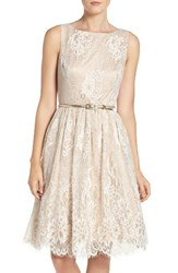 Eliza J Women's Belted Lace Fit And Flare Dress Ivory