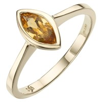 A B Davis 9Ct Gold Marquise Cut Rubover Ring Citrine