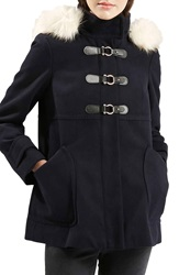 Topshop 'Hattie' Faux Fur Trim Duffle Coat Navy Blue