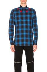 Givenchy Plaid Shirt With Contrast Stars In Blue Checkered And Plaid Blue Checkered And Plaid