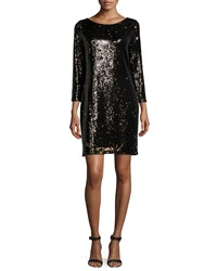 Halston Heritage Long Sleeve Embellished Shift Dress Gunmetal Bronze Grey Bronze
