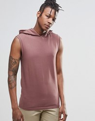 Asos Muscle Sleeveless T Shirt With Hood In Red Red
