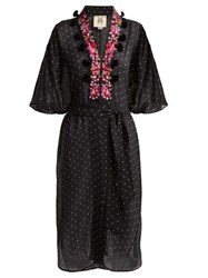 Figue Amira Embroidered Silk Chiffon Kaftan Black