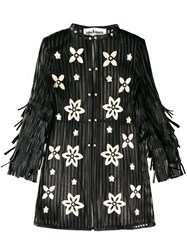Caban Romantic Hamptons Semi Sheer Floral Long Top Black