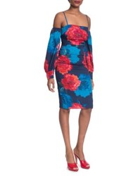 Tracy Reese Strappy Cold Shoulder Silk Dress Red Blue
