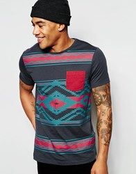 Asos T Shirt With Aztec Print And Contrast Pocket And Sleeves Black