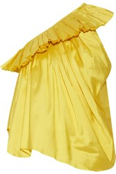Marques' Almeida One Shoulder Ruffled Silk Taffeta Top Bright Yellow