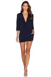Monrow Zip Up Romper Navy