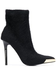 Versace Jeans Couture Fur Effect Heeled Boots Black
