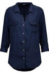 Splendid Frayed Chambray Shirt Midnight Blue