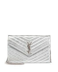 Saint Laurent Monogram Matelasse Wallet On Chain Platinum Platine Men's