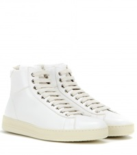 Tom Ford Leather High Top Sneakers White