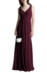 Levkoff Women's V Neck Chiffon A Line Gown Wine