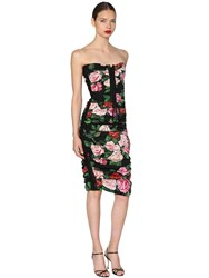 Dolce And Gabbana Floral Printed Lace Up Midi Dress Multicolor