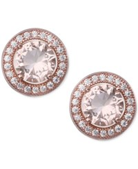 Giani Bernini Pave And Peach Color Cubic Zirconia Stud Earrings In 18K Rose Gold Plated Sterling Silver Only At Macy's