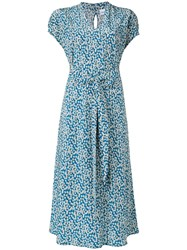 Aspesi Silk Floral Dress Blue