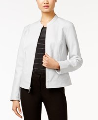 Alfani Perforated Faux Leather Jacket Only At Macy's New City Silver