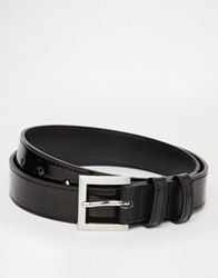 Asos Smart Belt In Black Faux Leather With Patent Fade Effect