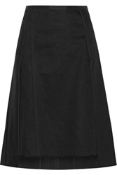 Narciso Rodriguez Asymmetric Layered Linen Twill Skirt Black