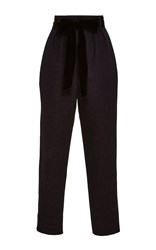 Monique Lhuillier High Waisted Cropped Trousers Blue