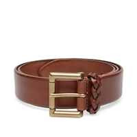 Andersons Anderson's Burnished Leather Woven Trim Belt Tan