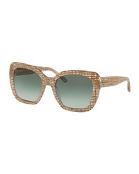 Tory Burch Square Gradient Acetate Sunglasses Crystal Green