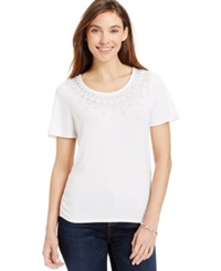 Jm Collection Ruched Hem Embellished Tee Bright White