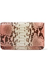 Nancy Gonzalez Crocodile Trimmed Python Clutch Pink