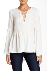 Daniel Rainn Poet Lace Up Front Blouse White