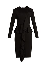 Givenchy Long Sleeved Ruffled Peplum Jersey Dress Black