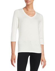 Lord And Taylor Petite V Neck Tee Ivory