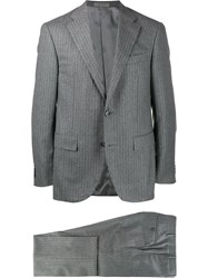 Corneliani Two Piece Pinstripe Formal Suit Grey