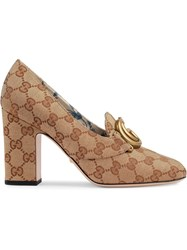 Gucci Gg Mid Heel Pump With Double G Neutrals