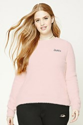 Forever 21 Plus Size Fuzzy Amore Sweater Blush