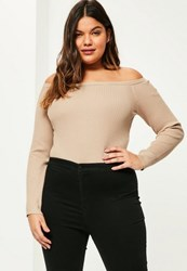 Missguided Plus Size Camel Ribbed Bardot Knitted Bodysuit