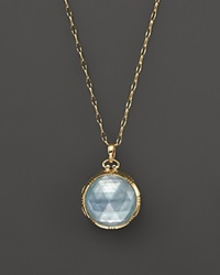 Monica Rich Kosann 18K Yellow Gold Dual Side Stone Blue Topaz Doublet Locket Necklace 30 Gold Multi