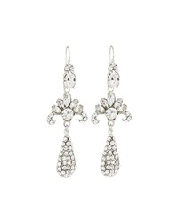 Jose And Maria Barrera Silvertone Deco Crystal Dangle Earrings