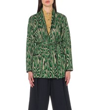 Dries Van Noten Michelle Moire Knitted Cardigan Green