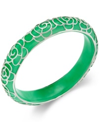 Macy's Jade Flower Overlay Bangle Bracelet 210 Ct. T.W. In Sterling Silver Green