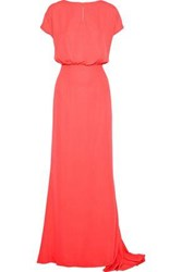 Mikael Aghal Woman Gathered Crepe Gown Coral