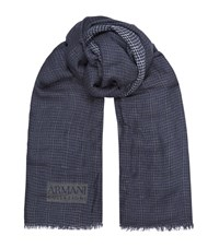 Armani Collezioni Lightweight Checked Scarf Unisex Navy