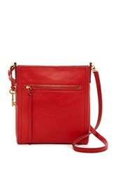 Fossil Emma North South Leather Crossbody Red