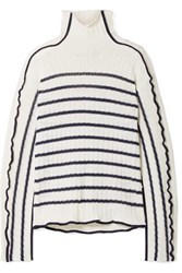 Sies Marjan Harrie Canvas Trimmed Striped Ribbed Linen Turtleneck Sweater Ivory