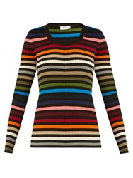 Sonia Rykiel Striped Scoop Neck Ribbed Knit Sweater Multi