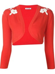 Tomas Maier Floral Knit Bolero Cardigan Red
