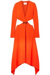 Dion Lee Embellished Cutout Cady Maxi Dress Bright Orange