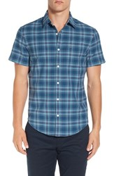 Original Penguin Men's Trim Fit Short Sleeve Plaid Oxford Shirt