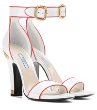 Prada Embellished Patent Leather Sandals White