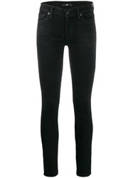 7 For All Mankind Glitter Slim Fit Trousers Black